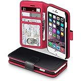 iPhone 6S Ledertasche, Terrapin Leder Brieftasche Case Hülle mit Standfunktion Kartenfächer für iPhone 6 / 6S Hülle Schwarz mit Rot Interior