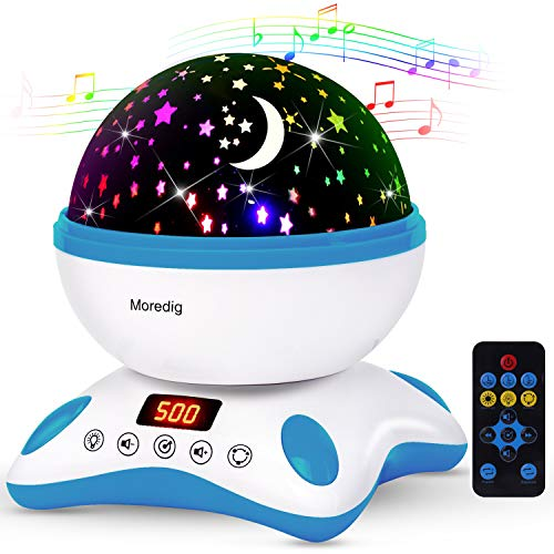 Moredig - Música lampara proyector estrellas 360 grados rotación con led pantalla,...