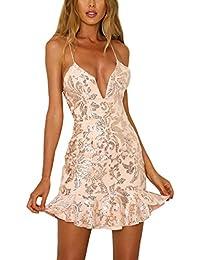 Monika Estate Vestito a Tubino Donna Sexy Collo V Profondo Pin Up Strette  Vestiti Moda Paillettes Schiena Nuda Mini… a9662bfb2e4