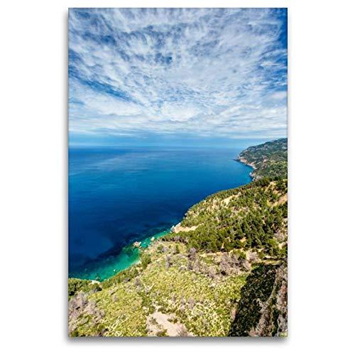 Premium Textil-Leinwand 80 x 120 cm Hoch-Format Mallorca Blick Es Grau - Westküste | Wandbild, HD-Bild auf Keilrahmen, Fertigbild auf hochwertigem Vlies, Leinwanddruck von Jürgen Seibertz