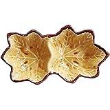 ensemble de 2, plat feuille d'érable conception porcelaine soucoupe pain servant