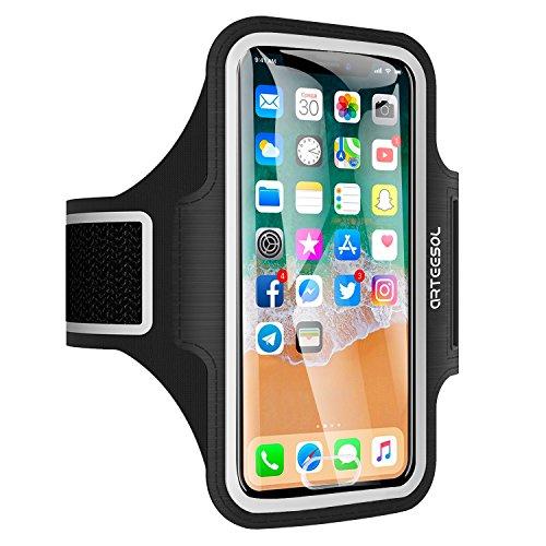 Arteesol Schweißfest Sport Armband Fitness Universell Handyhülle photo ID Touch-Mit Schlüsselhalter,Kabelfach,für iPhone 8/7/6/6S/5/SE,Galaxy S7/S6 edge Laufen Joggen bis 5.5 Zoll-Schwarz