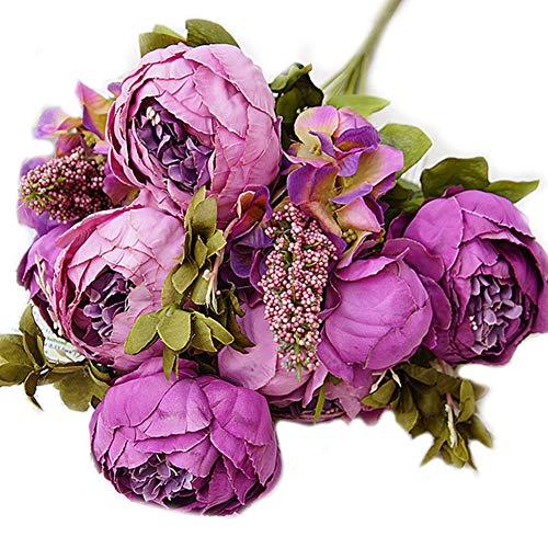mxdmai Artificielle Pivoine Soie Fleur Bouquet Pivoine simulé réutilisable Vif pour Le Mariage Salon Bricolage Bureau décoration de Jardin (Violet)