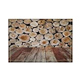 AQYYSH Mucchio di legno di tappeti da bagno rotondi in tronchi Tappetini antiscivolo per ingresso esterno per interni Tappetino per porta anteriore 16x24 inin Tappeti per bagno Tappeti per bagno