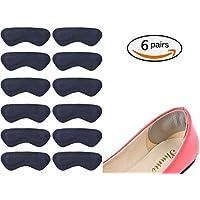 6 paia tallone Pad Heel shoe impugnature antiscivolo autoadesivo solette Foot Care Protector tacco protezione dalle vesciche (Nero)