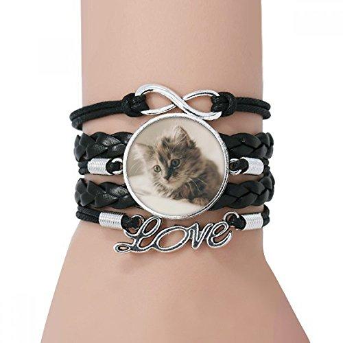 DIYthinker Damen Tier Kitty Grau-Katzen-Fotografie-Armband Liebe Schwarz Verdrehte-Leder-Seil-Armband