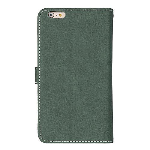 EKINHUI Case Cover Frosted Style Premium PU Leder Geldbörse Pouch Horizontal Flip Stand Folio Cover Case mit 9 Card Cash Slot & Magnetic Buckle für iPhone 6 Plus & 6s Plus ( Color : Black ) Green