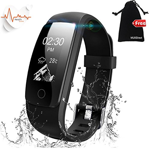 Fitness-Tracker-WatchMUXI-Activity-Tracker-With-Heart-Rate-Monitor-IP67-Waterproof-Calorie-Counter-WatchFull-Touch-Screen-Smart-Bracelet-Sleep-Tracker-Bluetooth-Smart-WatchConnected-Running-GPSSports-