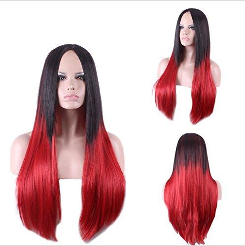 royalvirgin Fashion Langes Haar gerade schwarz Root zu rot Ombre synthetischen Perücke hochwertigen Cosplay Ombre Perücken für Frauen peruca peluca