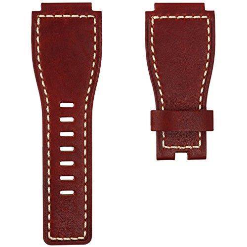 Uhrenarmband Geckota® Echtes Leder für Bell & Ross Uhren Vintage Rot 24mm
