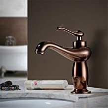 ADMLT Factory direct sales of copper rose gold hot and cold basin faucet European single hole antique hot and cold water faucet