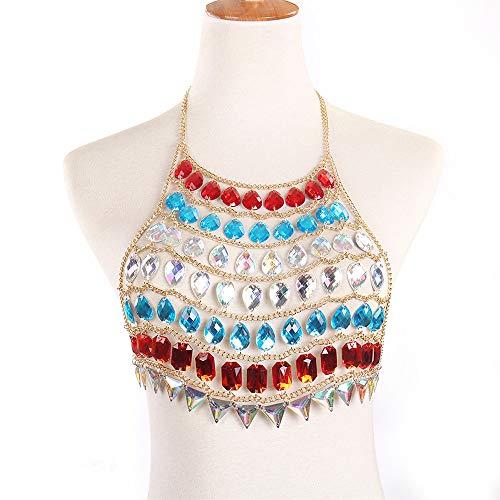 DNBCC Erwachsene weibliche Mädchen-Neckholder Perlenkette Körper Brust BH Zubehör Strand Schmuck Partei Nachtclub Bikinikörper Chain Crossover (Farbe : Golden) -