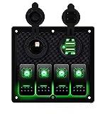DCFlat 5 Pin 4 Gang/6-Gang Auto Marine Boat Circuit RV LED Rocker Schalter Panel vorzubeugen Voltmeter mit Sicherung Double USB fÜr Wohnmobil-Auto/Boot rot/grün Light (4 gang-green) (4 gang-green)
