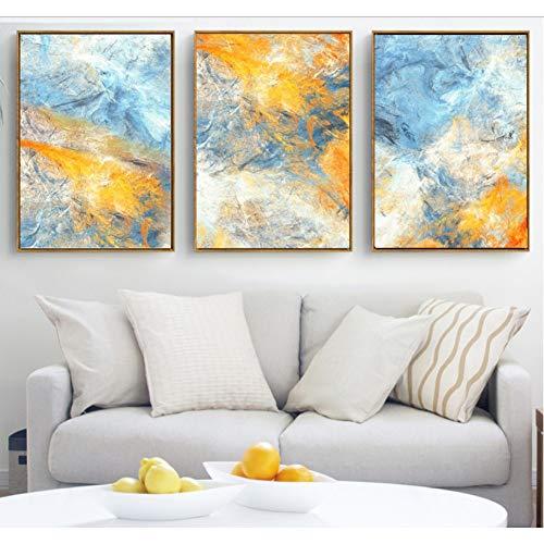 ASDZXC Blauer Und Gelber Traum Der Abstrakten Kunst 3 Stücke Leinwand Gemälde Wandkunst Bilder Leinwand Für Wohnzimmer Modulare Dekoration Kein Gestaltet -