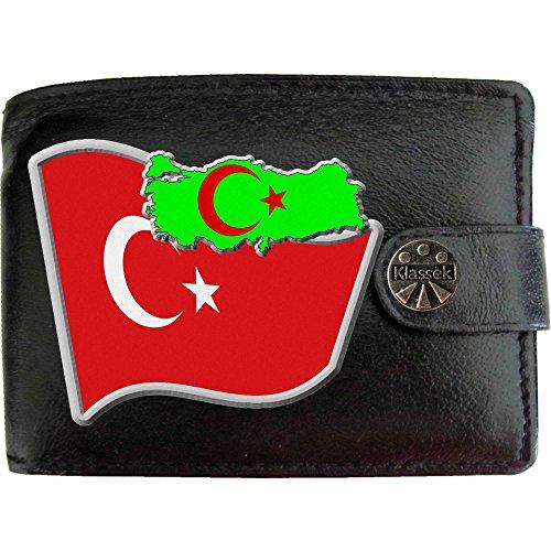 Türkei Flagge KLASSEK Herren Geldbörse Portemonnaie Brieftasche Türke Wappen aus echtem Leder schwarz Turkiye Geschenk Präsent Mit Metallbox (Die Türkei Geldbörse)