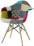 MONTEFIORE DESIGN montefioredesign–Stuhl aus Stoff Patchwork mit Beine aus Holz Cover