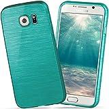 moex Samsung Galaxy S6 | Hülle Silikon Türkis Brushed Back-Cover TPU Schutzhülle Ultra-Slim Handyhülle für Samsung Galaxy S6 Case Dünn Silikonhülle Rückseite Tasche