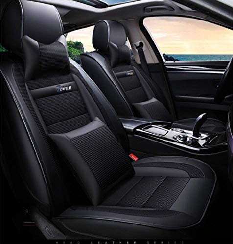 XUDONG Vollleder-Autositz, Four Seasons Universal-Autositzbezug für Autositz mit 5 Sitzplätzen, Leinen- und Ledernahtkissen (Farbe: Grau),Schwarz