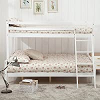 UEnjoy White Bunk Beds Triple Bed Frame Wooden Sleeper for Children Adults