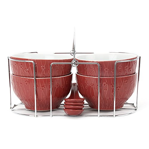 @home by Nilkamal Maroon Stoneware Set of 4 Soup Bowl with Stand and Spoons  available at amazon for Rs.549
