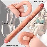 ANSCIO Doppeldildo, realistische Silikon Doppelloch Dildo Doppelpenetration, Penis Replik erotisches...