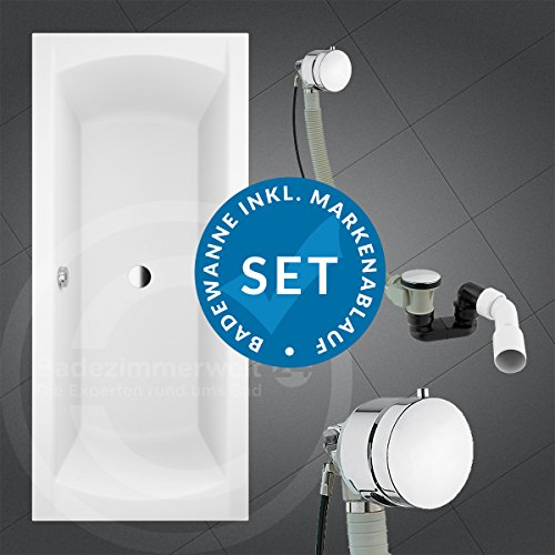 AQUABAD KOMPLETTSET - Badewanne AURELIO 180x80 cm + Träger + Premium Ablaufgarnitur Chrom mit Wannenbefüllung (Strahl)