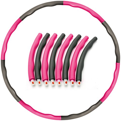 CampTeck U6845 8 Abschnitten Hula Hoop Reifen Fitness Beschwerter 1.5kg Hula Hoop Schaumstoff für Fitnesstraining, Bauchtrainer, 100cm Durchmesser - Rosa/Grau