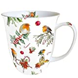Ambiente Weihnachten Christmas Ornaments und Vögel Becher 0,4 l Fine Bone China