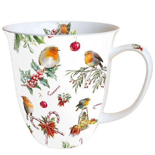 Ambiente Weihnachten Christmas Ornaments und Vögel Becher 0,4 l Fine Bone China Porzellan Becher Bone China, Mug, Tasse, Fuer Tee Oder Kaffee ca. 0,4L Christmas Ornaments -Ideal Als Geschenk (Vogel-ornamente Weihnachten)