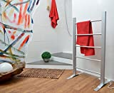 MEDION MD 15988 elektrischer Handtuchheizkörper, beheizbarer Handtuchwärmer, Elektrobadheizkörper mit 52 - 60° C, 110 Watt, 60 x 39 x 107 cm, silber -