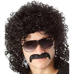 Perruque de déguisement années 70années 80pour homme, bouclée noire, coupe mulet