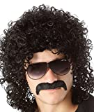 années 70années 80pour homme Déguisement fête Halloween Perruque bouclés Noir Mullet Rockstar Perruque
