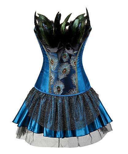CHARMW Damen Gotik Corsagenkleid Bustier Vintage Korsage Corsage mit Rock Burlesque Vollbrust...