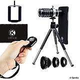 Kameraobjektiv-Set und Blende Fernbedienung für Samsung Galaxy S7 / S7 Edge - Inklusive: Bluetooth Kamera-Fernbedienung, 12x Teleobjektiv, Fischaugenobjektiv, Makroobjektiv, Weitwinkelobjektiv