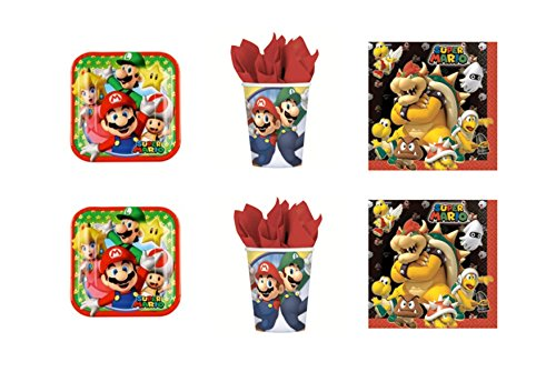 Luigi Party - Kit N ° 3 cdc- (24 Teller, 24 Gläser, 40 Servietten) ()
