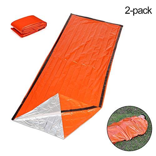 SUMSEA 2 Pack Notfall Schlafsack, Biwaksack Survival Schlafsack Leichte Wasserdichte Thermische Notfalldecke Survival Gear für Outdoor Wandern, Camping, Jagd -