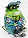 DanDiBo Abfalleimer Frosch mit Hut Blau BL61 Treteimer Mülleimer aus Metall 45cm Eimer