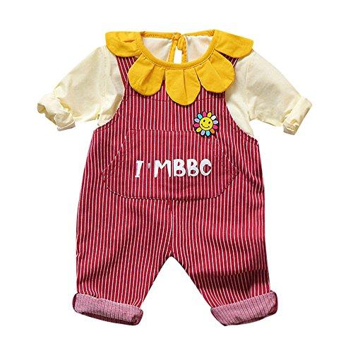 Kleider Kinderbekleidung Honestyi 2 Stücke Kleinkind Baby Jungen Mädchen Solide Tops Gestreiften Hosenträger Hosen Outfits Set (Wein,M/90)