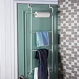LHbox Tap Tür und Kleiderhaken Non-Marking Non-Marking Tür und Kleiderhaken Badezimmer Tür Zurück hängen Wäscheständer aus der Bohrung in der Tür Aufhängevorrichtung Tür, Leiter 4 Stufe Handtuchhalter