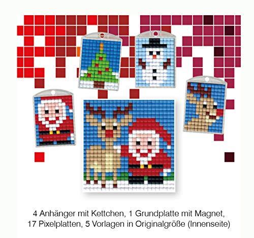 Pracht Creatives Hobby P90018-63501 - Pixel Spaß Bastelset 10, für 4 Medaillons, Schlüsselanhänger, für Kinder, Jungen und Mädchen, ideal als kleines Geschenk, Mitgebsel, für den Kindergeburtstag