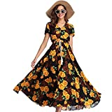 HannahY Damen Floral Maxi Kleider Boho Button Up Split Beach Party Kleid (S)