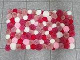 Alfombra Pompones - Rosa y blanco