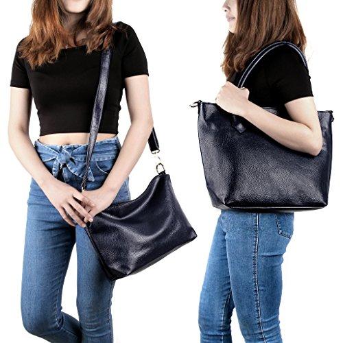 2197b030e271c UTO Damen Schultertasche 2 Piece Shopper PU Leder Handtasche Purse Tasche  Set Royal blau Royal blau ...