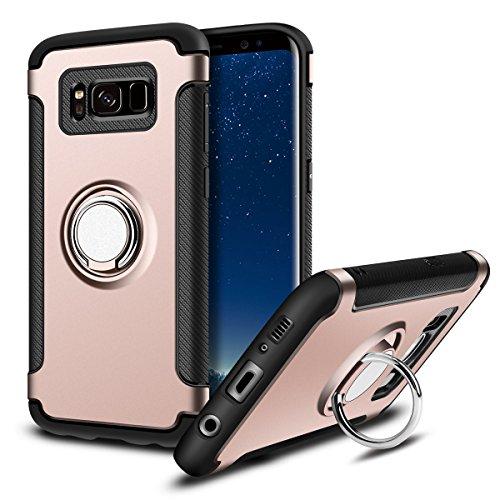 Hülle für Samsung Galaxy S8 Plus (6,2 Zoll) 360 Grad Drehbar Ringhalter mit Magnetischer Handyhalter Auto Handyhülle (Roségold)