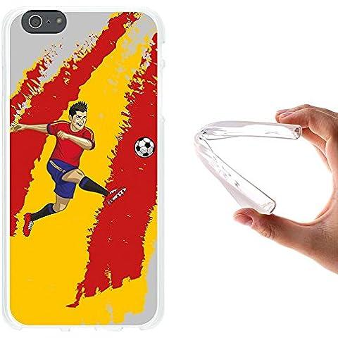 WoowCase - Funda Gel Flexible { iPhone 6 Plus 6S Plus } Jugador de Fútbol Bandera España Carcasa Case Silicona TPU Suave