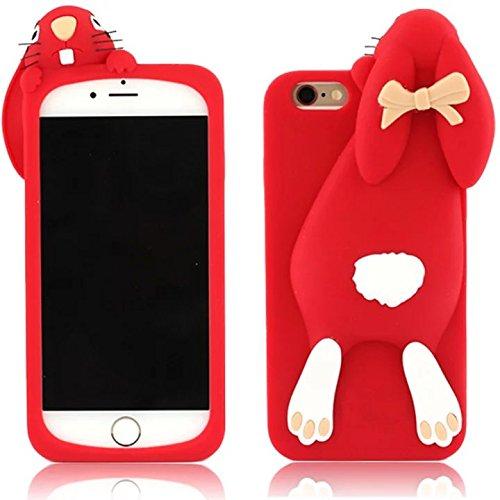 Sunroyal® Adorabile 3D Custodia per Apple iPhone 6 Plus / iPhone 6S Plus (5.5) Carino Divertente Dolce Arco Buck Denti Papa Coniglio di Coniglietto Molle del Silicone della Protettiva Cassa Impermeab Rosso