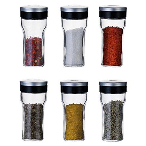 KitchenGet - Gewürzgläser Set - 6 Gewuerzstreuer - jeder Gewürzglas fasst 80ml