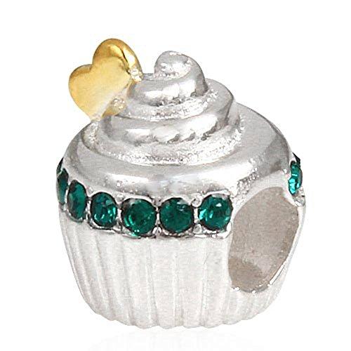 Soulbead Oro Cuore Torta di compleanno con zirconia cubica argento Sterling 925Cupcake Charm per braccialetto con catena a serpente Emerald Crystal