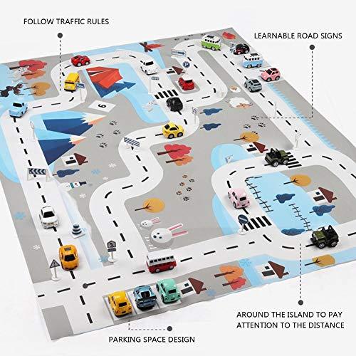 rebirthesame Kinderverkehrs Parkplatz Karten Spiel Auflage Spiel Matten Autoteppich mit Straße