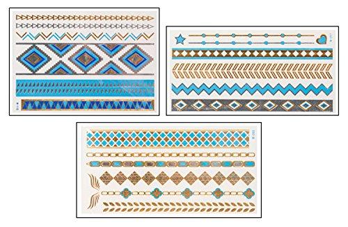Blue Pocahontas Set - 3 Sheets & 21 Motive - Flash Tattoo - Original POSH ()